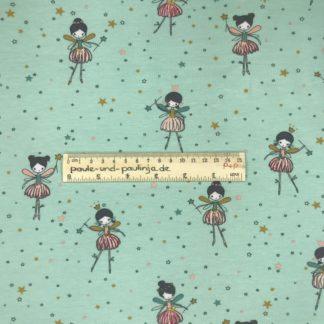 Bild Baumwolljersey, Jersey, stretch, dehnbar, Jerseystoffe, Stoffe, Kinderstoff, Punkte, mint, mintgrün, ockergelb, senf, rosa, pastell, tanzende Ballerinas, Feen, Elfe