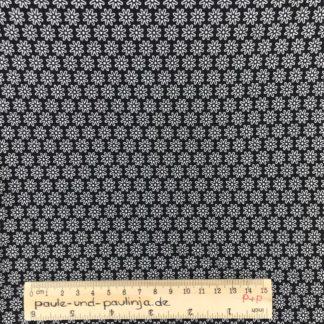 Bild Baumwolljersey, Jersey, stretch, dehnbar, Jerseystoffe, Stoffe, weiß, schwarz, Blumen, Blümchen, Muster, Gänseblümchen, Blüten