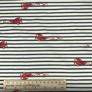 Bild Baumwolljersey, Jersey, stretch, dehnbar, Jerseystoffe, Stoffe, niedlich, weiß blau gestreift, rote Flugzeuge, gestreift, maritim