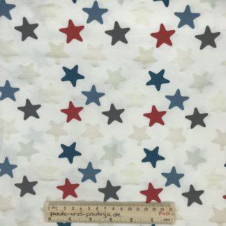 Bild Baumwolljersey, Jersey, stretch, dehnbar, Jerseystoffe, Stoffe, Muster, Motiv, blau, weiß, rot, grau, Sterne, Stern