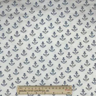 Bild Jersey, Baumwolljersey, stretch, dehnbar, weiß, UV-Stoff, Sonnenstoff, Anker, bunt
