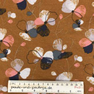 Bild Alpenfleece, Fleece, dicker Stoff, warm, kuschelig, weiß, bunte Blumen, blau, gelb,rosa, ockergelb