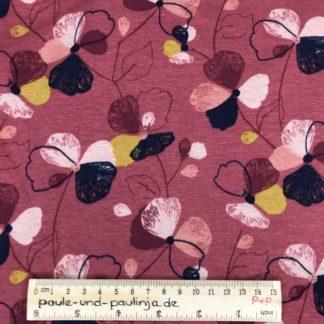 Bild Alpenfleece, Fleece, dicker Stoff, warm, kuschelig, rot, bunte Blumen, blau, gelb,rosa, ockergelb