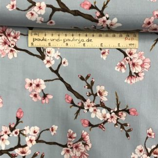 Bild Viskose mit Elastan, stretch, Viskosestoffe, dehnbar, hellblau, himmelblau, babyblau, Kirschblüten, Japan, Kirsche, Blumen, Blüten