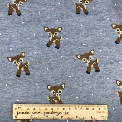 Bild Alpenfleece, Fleece, dicker Stoff, warm, kuschelig, blau, meliert, Bambi, Rehkitz, Reh, Punkte