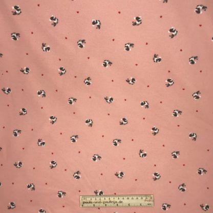 Bild Alpenfleece, Fleece, dicker Stoff, warm, kuschelig, rosa, rote Herzen, Hasen, Kaninchen