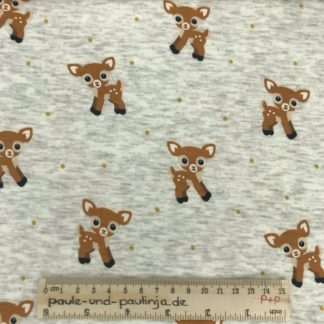 Bild Alpenfleece, Fleece, dicker Stoff, warm, kuschelig, weiß, meliert, Bambi, Rehkitz, Reh, Punkte