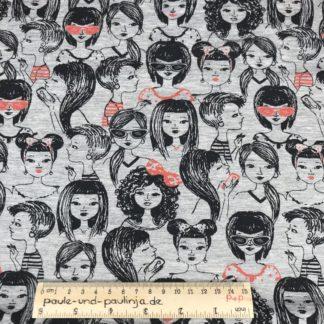 Bild Baumwolljersey, Jersey, stretch, dehnbar, Jerseystoffe, Stoffe, Muster, Motiv, grau, weiß meliert, Mädchen, Frauen, Damen, schwarz, neonorange