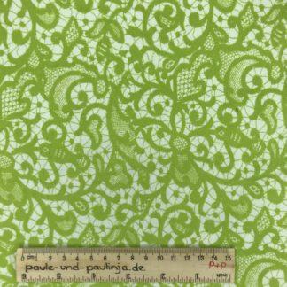 Bild Baumwolljersey, Jersey, stretch, dehnbar, Jerseystoffe, Stoffe, weiß, hellgrün, Muster, Motiv, geschnörkel