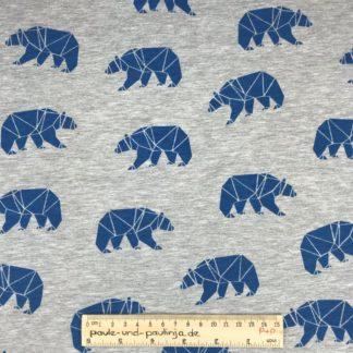 Bild Baumwolljersey, Jersey, stretch, dehnbar, Jerseystoffe, Stoffe, Muster, Motiv, graumeliert, blau, Eisbären