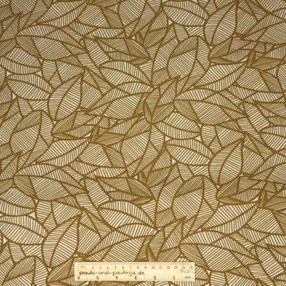 Bild Webware, Baumwolle, Canvas, Stoff für Kissen, Stoff für Taschen, Stoff für Tücher, robust, Blätter, natur, beige, ockergelb