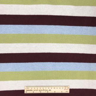 Bild Strick, Strickstoff, stretch, dehnbar, stretch, Pullistoff, gestreift, Streifen, grün, hellblau, creme, braun, Blockstreifen