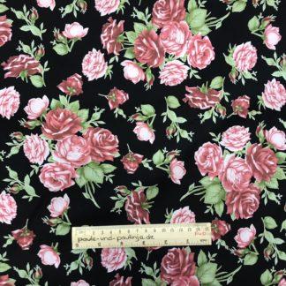 Bild schöne Baumwolle mit Rosen auf schwarzen Hintergrund