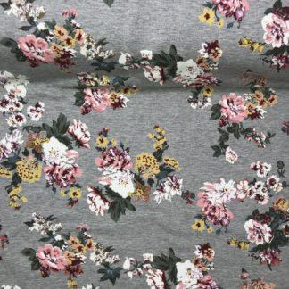 Bild Sommer Sweat, Jersey, stretch, dehnbar, weich, grau, leicht angeraut, bunte Blumen, Motiv