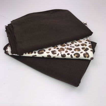 Bild Stoffe Jersey Nähpaket XXL Tuch feiner Baumwoll Jersey in braun dunkelbraun Leomuster in braun auf creme