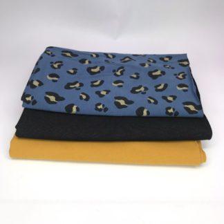 Bild XXL Tuch aus Sommersweat in curry und Schwarz. Jersey in blau mit Leomuster in schwarz mit glitzer