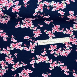 Bild Sommer Sweat, French Terry, Jersey, stretch, dehnbar, leicht angeraut, dunkelblau, Kirschbluten, kleine zarte rosa Blüten