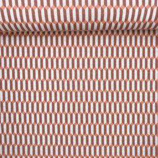 Bild Recycelt Jaquard in braun, beige und orange, Muster, Struktur, Baumwolle, Recycelte Baumwolle, leicht dehnbar, Strickstoff