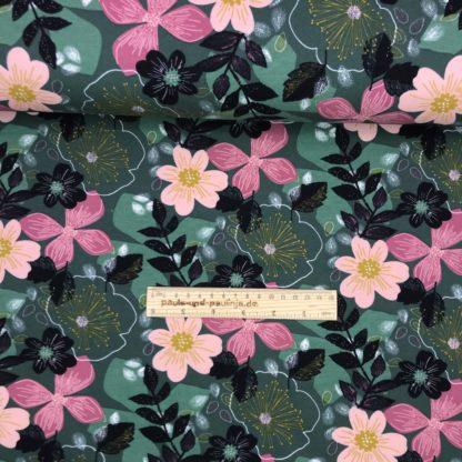 Bild Sommer Sweat, French Terry, Jersey, stretch, dehnbar, leicht angeraut, dunkelgrün, großen rosa Blüten