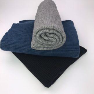 Bild Stoffe Strickstoff Nähpaket XXL Tuch Strickstoff in grau in dunkelblau in schwarz
