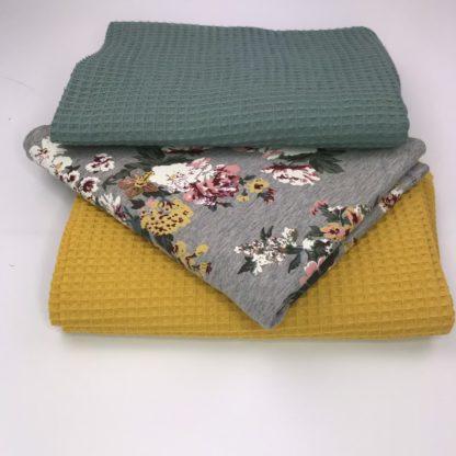 Bild Stoffe Waffelpigue Nähpaket XXL Tuch Baumwolle Waffelpique in senfgelb in mintgrün Sommersweat in grau gemustert Blumen