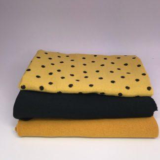 Bild XXL Tuch aus Stickstoff in curry, schwarz und Musselin in gelb mit schwarzen Punkten