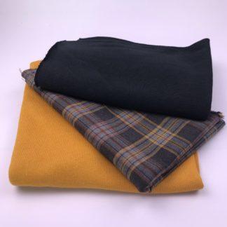 Bild Stoffe Strickstoff und Viskosegemisch Nähpaket XXL Tuch feiner Strickstoff in Senfgelb Strickstoff in schwarzer kariertet grau gelb graublau
