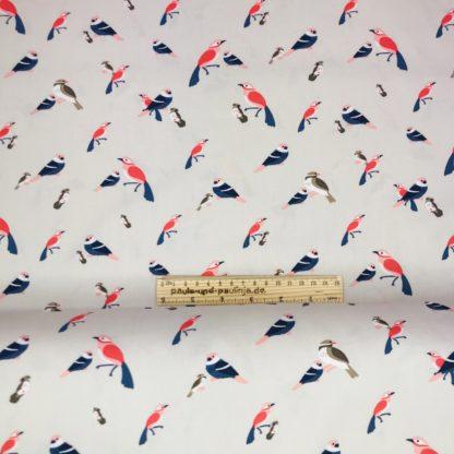 Bild Viskosestoff, beige, kleine Vögel, Vogelschar, Vogelhochzeit, Motiv, farbenfroh