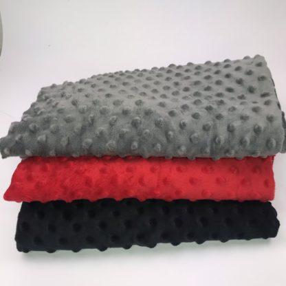 Bild Stoffe Minky Fleece Nähpaket XXL Tuch Polyester Minky Fleece in grau in rot in schwarz