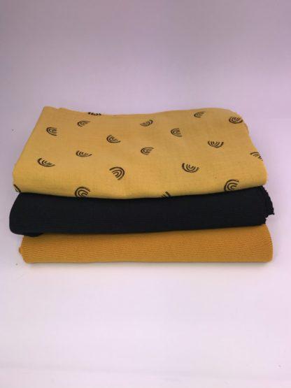 Bild XXL Tuch aus Stickstoff in curry, schwarz und Musselin in gelb mit schwarzen Regenbögen