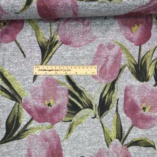 Bild Strickstoff Jaquarde grau meliert mit Tulpen
