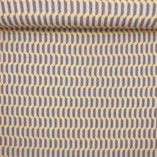 Bild Recycelt Jaquard in braun, hellbraun, senfgelb, Muster, Struktur, Baumwolle, Recycelte Baumwolle, leicht dehnbar, Strickstoff