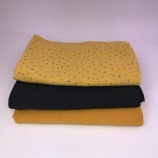 Bild XXL Tuch aus Stickstoff in curry, schwarz und Musselin in gelb mit schwarzen Strichen