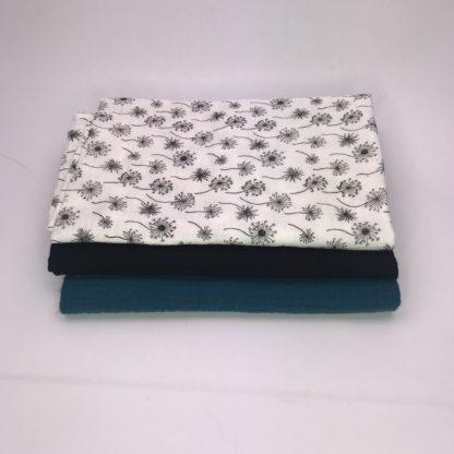 Bild XXL Tuch Musselin in petrol , schwarz und weiß mit schwarzen Pusteblumen