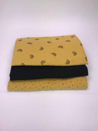 Bild XXL Tuch Musselin in gelb, schwarz und gelb mit Regenbögen