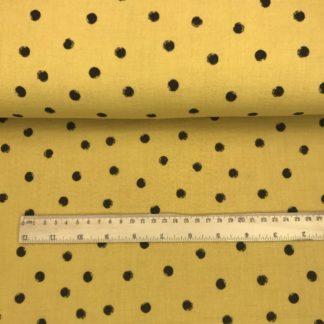 Bild grauer Musselin Windelstoff senfgelb mit schwarzen Punkten, unvollständige Punkte, Tuchstoff, Baumwolle, gemustert, unregelmäßig