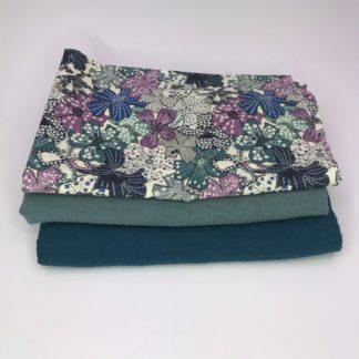 Bild XXL Tuch Musselin in petrol, grün und Webware/Baumwolle mit Blumen
