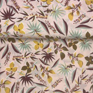 Bild Blusenstoff Viskose- Radiance mit Blumen, Blätter auf altrosa