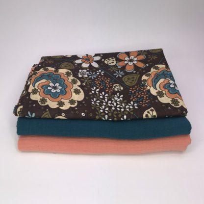 Bild XXL Tuch Musselin in pfirsich/Lachs, petrol und Webware/Baumwolle mit Blumen