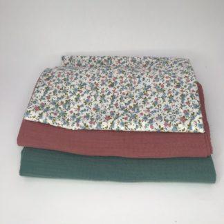 Bild XXL Tuch Musselin in grün, altrosa und Webware/Baumwolle mit Streublümchen in blau,