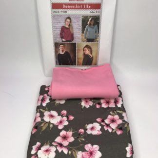 Bild Jerseystoff mit Kirschblüten auf braun mit passenden uni Stoff in rosa