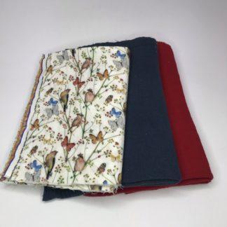 Bild XXL Tuch Musselin in rot, navyblau und ein farbigen Stoff mit Vögelchen und Schmetterlinge