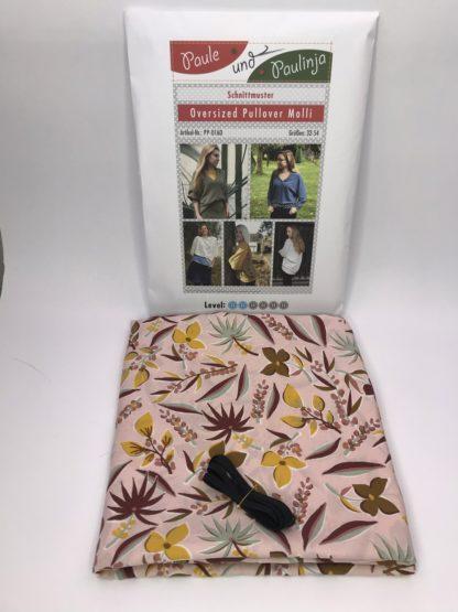 Bild Blusenstoff Viskose- Radiance mit Blumen, Blätter auf altrosam Nähpaket mit Gummiband und Papierschnittmuster