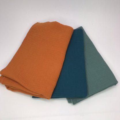Bild XXL Tuch Musselin in grun, petrol und orange