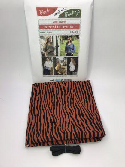 Bild Blusenstoff Viskose- Radiance Zebraoptik braun Schwarz Nähpaket mit Papierschnittmuster und Gummiband