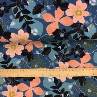 Bild Sommer Sweat, French Terry, Jersey, stretch, dehnbar, leicht angeraut, dunkelblau, großen lachsrosa Blüten