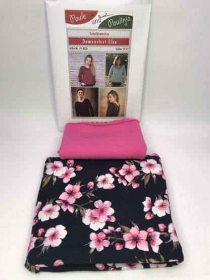 Bild Jerseystoff mit Kirschblüten auf navy mit passenden uni Stoff in pink