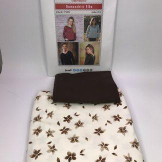 Bild Baumwolle Jersey mit Blätter Blüte braun auf weiß und braunen uni Jersey und Papierschnittmuster