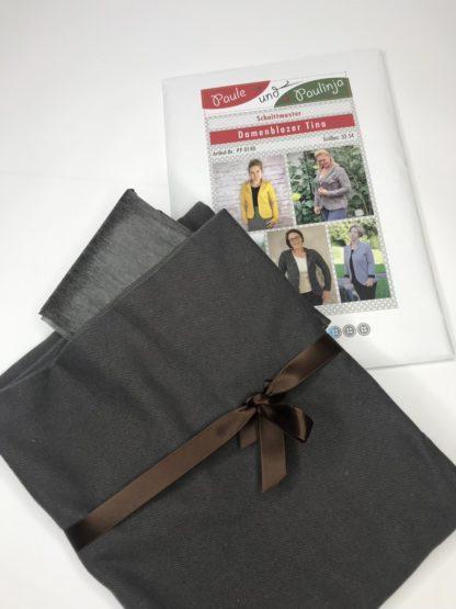 Bild Nähpaket Blazer Tina Jeggingsstoff Sommersweat French Terry Grau Mausgrau Papierschnittmuster sportliche Jacke