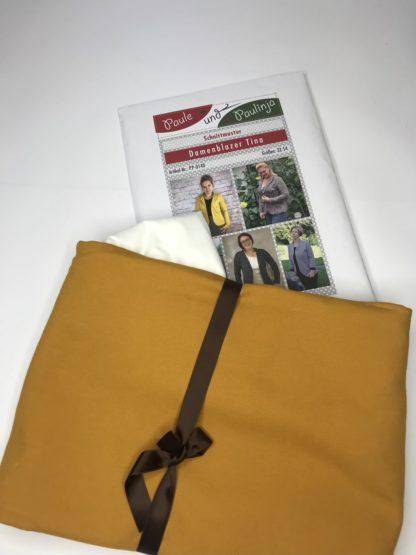 Bild Nähpaket Blazer Tina Jeggingsstoff Sommersweat French Terry Senfgelb Curry Papierschnittmuster sportliche Jacke